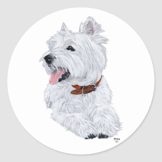 Cheerful West Highland White Terrier Classic Round Sticker