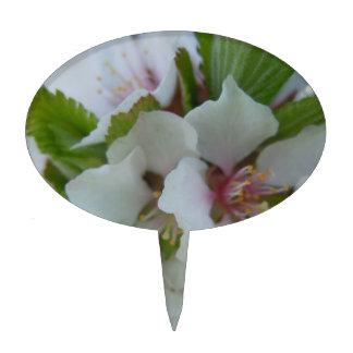 Cheerful White Apple Blossom Cake Topper