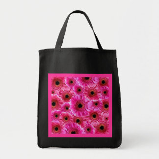 Cheerful Wow Pink Floral Collage Reusable Black Tote Bag