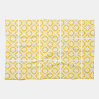 Cheerful yellow and white geometric pattern towels