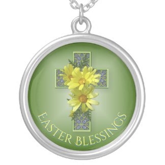 Cheerful Yellow Daisies Easter Blessings Silver Plated Necklace