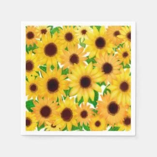 Cheerful Yellow European Sunflowers Paper Napkins