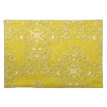 Cheerful Yellow Floral Damask Cloth Placemat