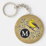 Cheerful Yellow Prothonotary Warbler with Monogram Basic Round Button Keychain