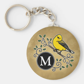 Cheerful Yellow Prothonotary Warbler with Monogram Keychain