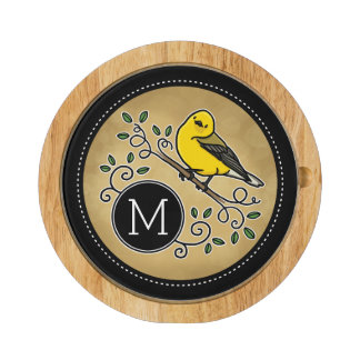 Cheerful Yellow Prothonotary Warbler with Monogram Round Cheese Board
