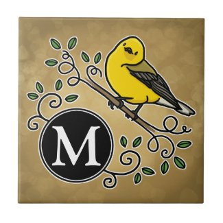 Cheerful Yellow Prothonotary Warbler with Monogram Tile
