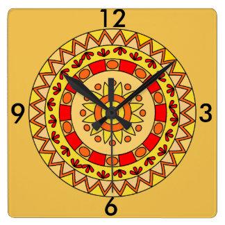 Cheerful Yellow Square Wall Clock