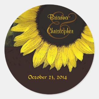 Cheerful Yellow Sunflower Wedding Couple Classic Round Sticker