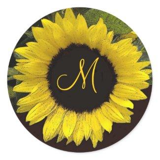 Cheerful Yellow Sunflower Wedding Monogram sticker
