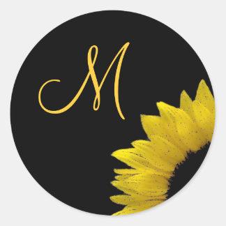 Cheerful Yellow Sunflower Wedding Monogram V01 Classic Round Sticker