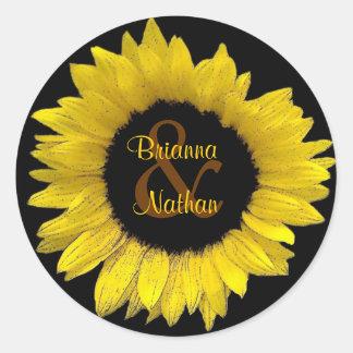 Cheerful Yellow Sunflower Wedding Sticker