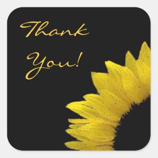 Cheerful Yellow Sunflower Wedding Thank You V01 Square Sticker
