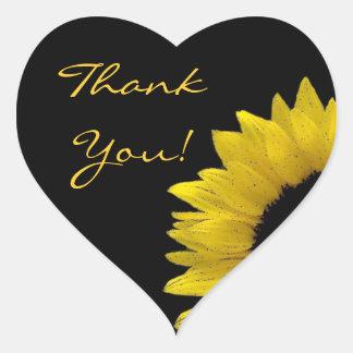 Cheerful Yellow Sunflower Wedding Thank You V02 Heart Sticker