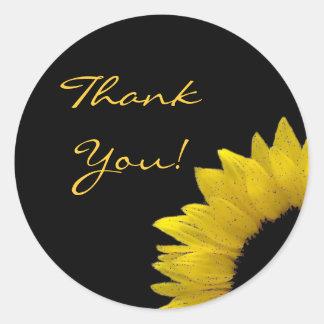 Cheerful Yellow Sunflower Wedding Thank You V03 Classic Round Sticker