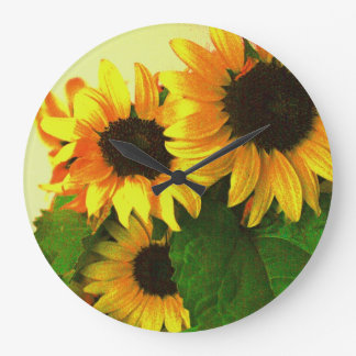 Cheerful yellow sunflowers floral large clock