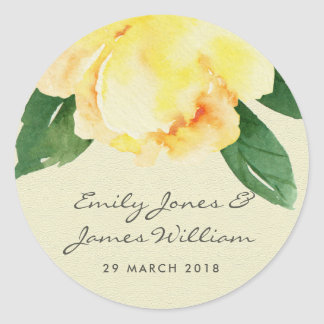 CHEERFUL YELLOW WATERCOLOR FLORAL ENVELOPE SEAL