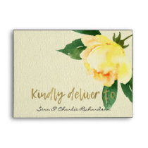 CHEERFUL YELLOW WATERCOLOR FLORAL PERSONALIZED ENVELOPE
