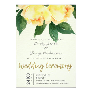 CHEERFUL YELLOW WATERCOLOUR FLORAL WEDDING CARD