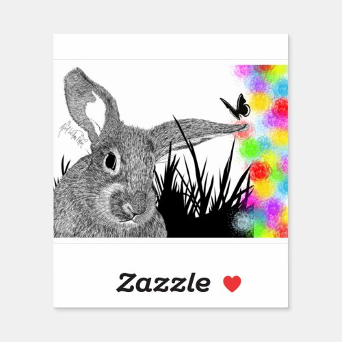Cheerfully Colorful Rabbit Drawing Fun Easter Sticker