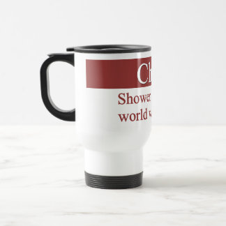 Cheerfully shower the world with smiles 15 oz stainless steel travel mug