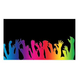 Cheering crowds with a rainbow effect business card