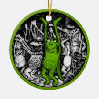 Cheering Frogs Christmas Ornaments