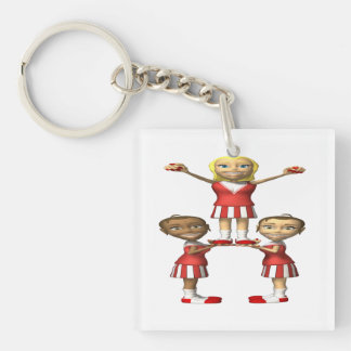 Cheering Pyramid Double-Sided Square Acrylic Keychain