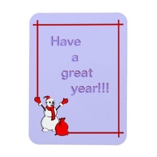 Cheering snowman with bag full of presents 2013 magnet