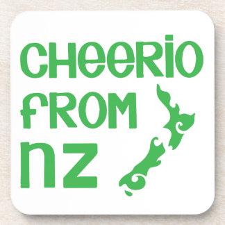 Cheerio de NZ con el mapa de Nueva Zelanda Posavasos De Bebidas