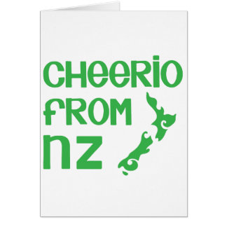 Cheerio from NZ with New Zealand map Card