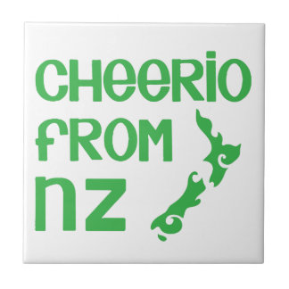 Cheerio from NZ with New Zealand map Ceramic Tile