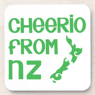 Cheerio from NZ with New Zealand map Drink Coasters