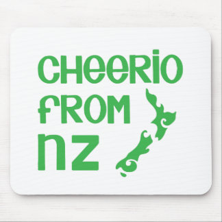 Cheerio from NZ with New Zealand map Mouse Pad