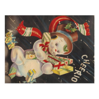 """""""Cheerio"""" Vintage Snowman with Packages Postcard"""