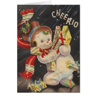"""""""Cheerio"""" Vintage Snowpeople Card"""