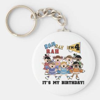 Cheerleader 4th Birthday T-shirts and Gifts Basic Round Button Keychain