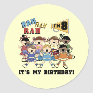 Cheerleader 8th Birthday Tshirts and Gifts Classic Round Sticker