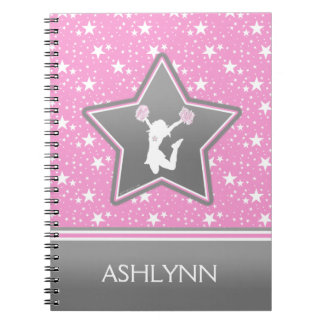 Cheerleader Among the Stars in Pink with YOUR NAME Notebook