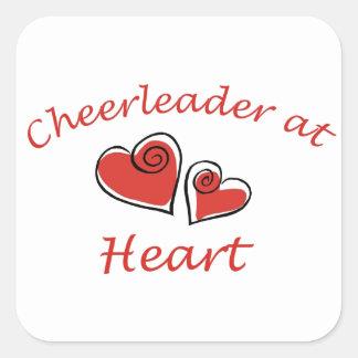 Cheerleader at Heart Square Sticker
