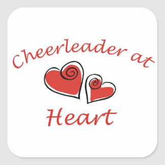 Cheerleader at Heart Square Stickers