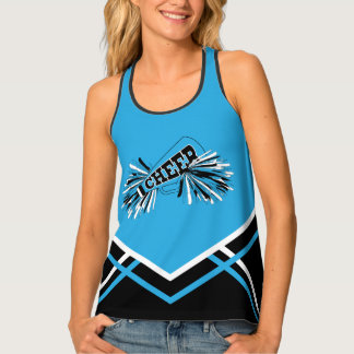 Cheerleader - Baby Blue, Black & White Tank Top