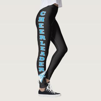 Cheerleader Baby Blue Typography Letters Leggings