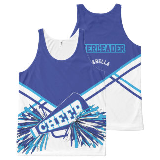 Cheerleader -Baby Blue, White & Blue All-Over-Print Tank Top