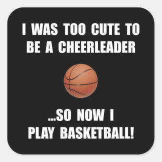 Cheerleader Basketball Square Sticker