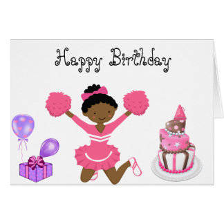 Cheerleader Birthday card AA