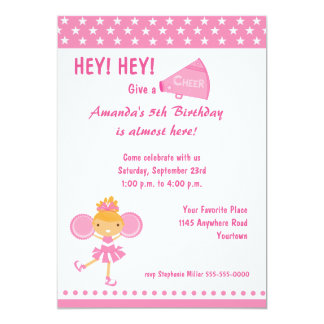 "Cheerleader Birthday Invitation 5"" X 7"" Invitation Card"