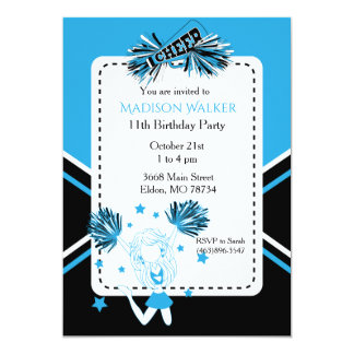 Cheerleader Birthday Party in Baby Blue Card