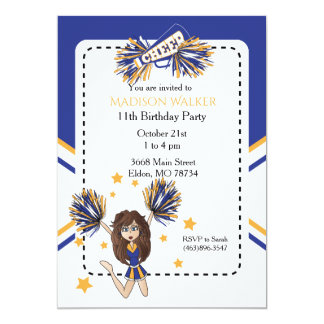 Cheerleader Birthday Party in Blue & Gold Card