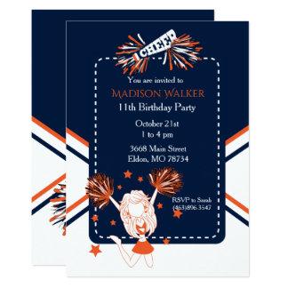 Cheerleader Birthday Party in Dark Blue & Orange Card